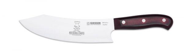 Rostfreies Küchenmesser aus Chrom-Molybdän-Stahl mit 20cm Klingenlänge und rot-braunem Strukturgriff