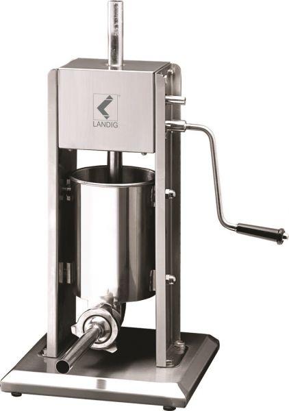 Stand-Wurstfüllmaschine aus Edelstahl mit Handkurbel und Logoaufdruck von Landig