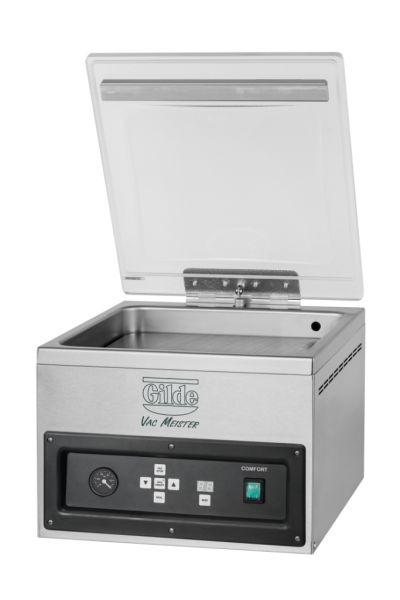 Vakuummaschine Edelstahl mit transparentem Deckel zum Vakuumieren und Begasen von Lebensmitteln