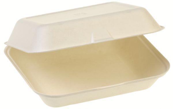 Bio Food Box mit Klappdeckel aus Zuckerrohr, einteilig