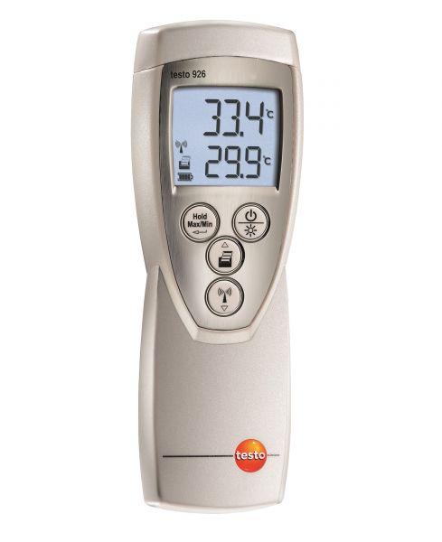 Silbernes Temperaturmessgerät mit blau leuchtendem Display