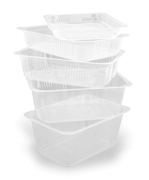 Fünf versiegelbare transparente PP-Schalen in verschiedenen Größen für Lebensmittel