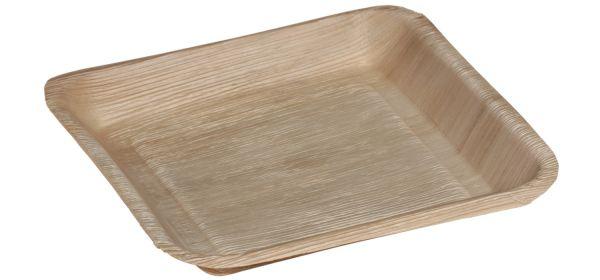 Quadratischer Einwegteller aus Palmblatt mit Rand