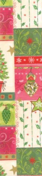 Geschenkpapier Muster 3 in den Farben Rot, Creme und Grün mit Weihnachtsmotiven auf Strukturflächen