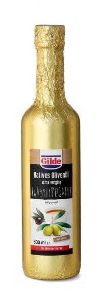 500 ml Flasche Gilde Natives Olivenöl in edle goldfarbene Folie eingewickelt