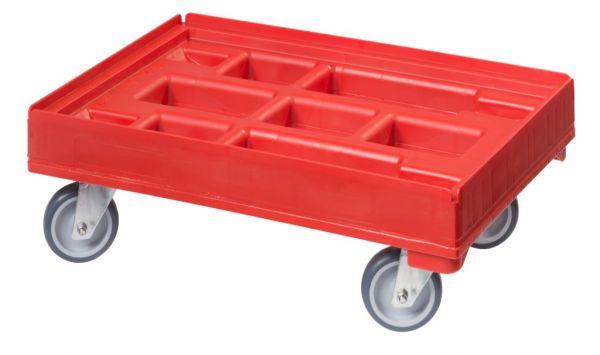 Roter Kistenrollwagen mit vier gummibereiften Lenkrollen