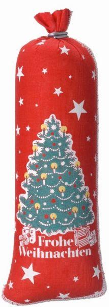 Roter Textildarm dreifarbig motivbedruckt mit Tannenbaum, Geschenken und Schrift Frohe Weihnachten