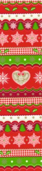 Geschenkpapier Muster 6 in rot, grün und weiß mit Sternen- und Tannenbaummotiven