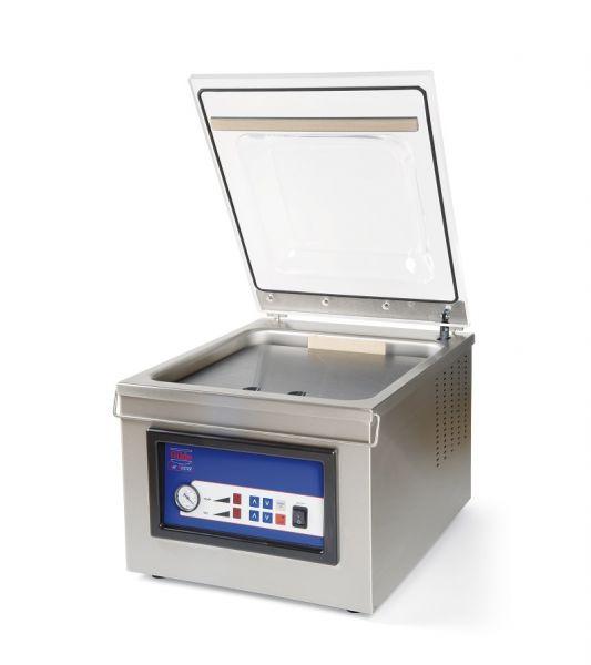 Vakuummaschine Edelstahl und transparentem Deckel zum Vakuumieren und Begasen von Lebensmitteln