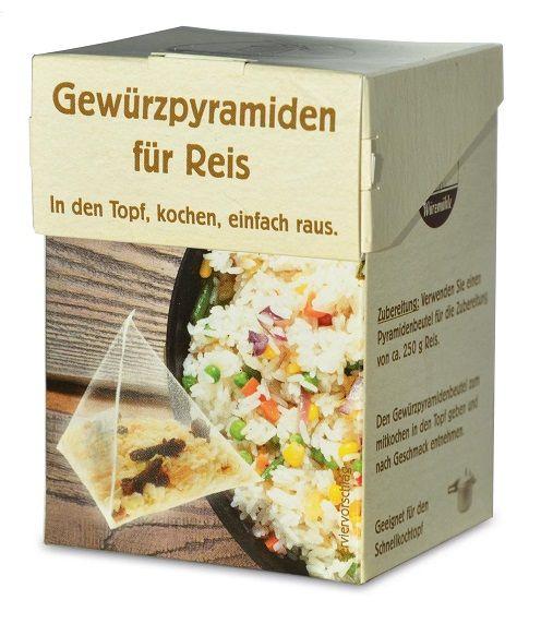 Verpackung mit Gewuerzmischung portioniert in pyramidenartigen Beuteln zum Kochen von Reis