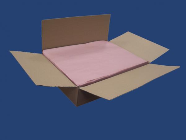 Karton mit ¼ Bögen rosa Einschlagpapier