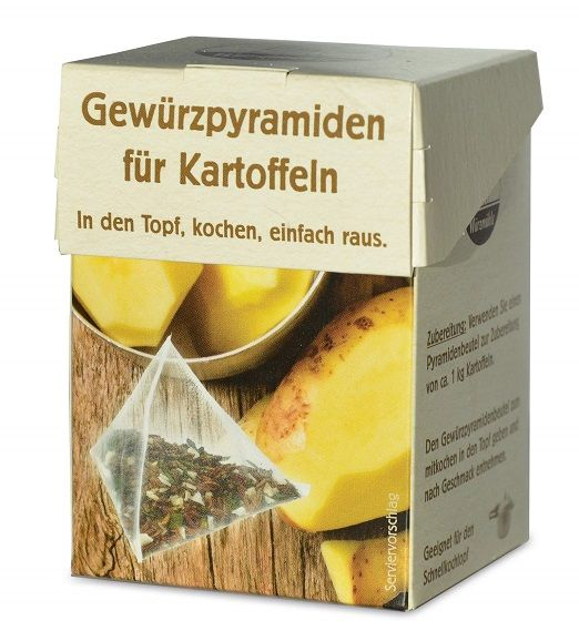 Verpackung mit Gewuerzmischung portioniert in pyramidenartigen Beuteln zum Kochen von Kartoffeln