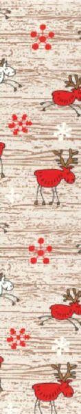 Weihnachtsgeschenkpapier Muster 5 mit weißen und roten Elchen auf Holzstrukturdruck