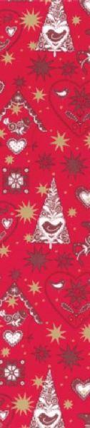 rotes Geschenkpapier Muster 4 bedruckt in gold, dunkelrot und weiß mit Sternen und Tannenbäumen