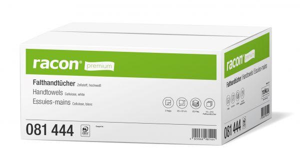 Eine Box racon premium Falthandtücher aus Zellstoff