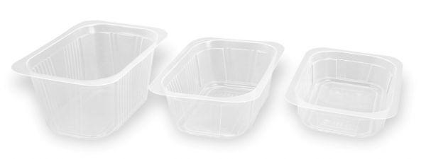 Drei versiegelbare transparente PP-Schalen in verschiedenen Größen für Lebensmittel