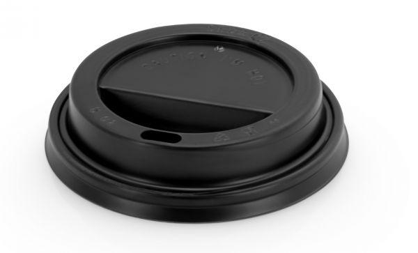 schwarzer Deckel für Einweg-Kaffeebecher mit ovalem Trinkloch