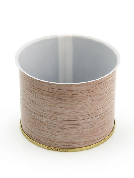 Leere Weißblechdose in Holzoptik mit 200 gramm Fassungsvermögen zum Lebensmittel konservieren