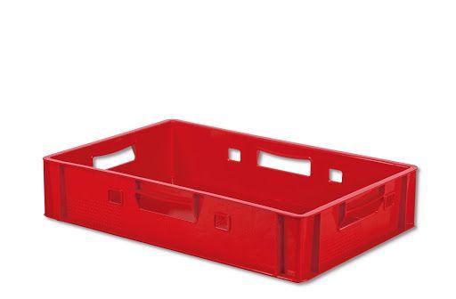 Eine leere rote Eurokiste, Modell E1. Außenmaße: 600 x 400 x 125 mm