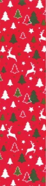 Rotes Geschenkpapier Muster 2 mit Rentieren und Tannenbäumen in grün und weiß darauf