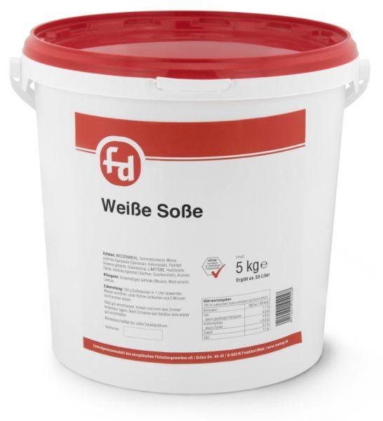 Soßenpulver von der Marke fd für weiße Soße im 5-kg-Eimer zum schmackhaften Speisenverfeinern