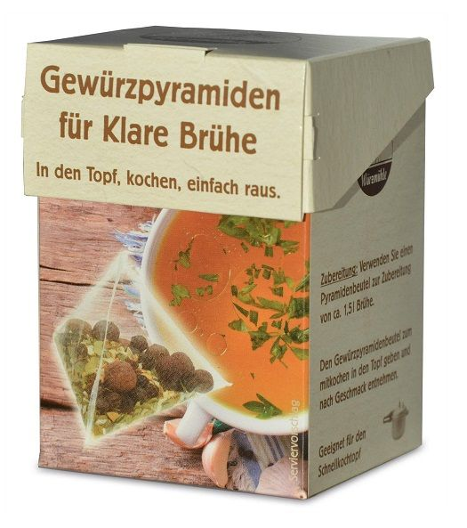 Verpackung mit Gewuerzmischung portioniert in pyramidenartigen Beuteln zum Kochen von klarer Bruehe