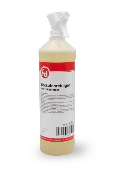 Gelblicher Backofenreiniger in der 1-Liter-Flasche mit Sprühpistole