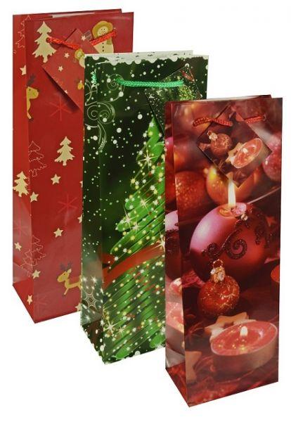 Bedruckte Lacktragetaschen in rot und grün für Flaschen mit Tannenbaum- und Kerzen-Weihnachtsmotiven