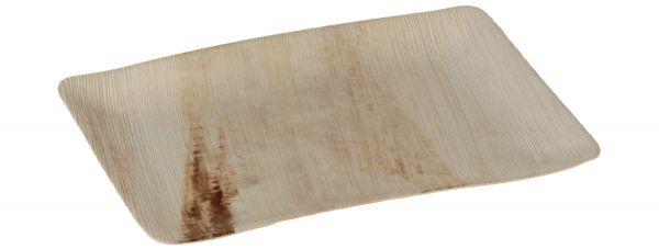 Rechteckiger Einwegteller aus Palmblatt ohne Rand