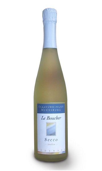 0,75 Liter Flasche trockener Perlwein Le Boucher Secco vom Staatsweingut Meersburg