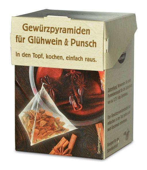 Verpackung mit Gewuerzmischung portioniert in pyramidenartigen Beuteln fuer Gluehwein und Punsch