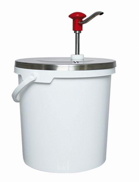 Dosieraufsatz aus Edelstahl mit Druckknopf aufgesetzt auf einem PP-Eimer mit 10 Liter Volumen