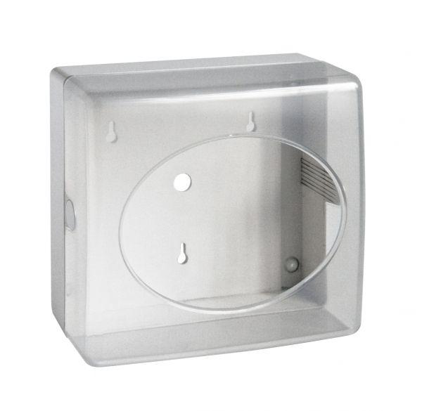 Wischtuch-Spender mit Druckverschluss und Halterung für die Befestigung an der Wand.