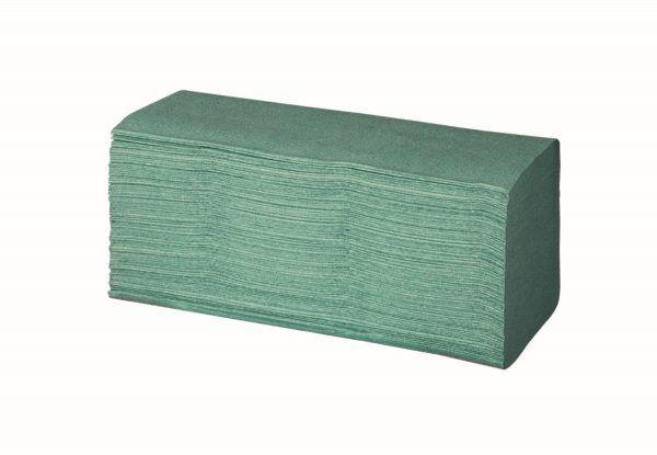 Pack aus hellgrünen Papier-Falthandtüchern mit Zick-Zack-Faltung