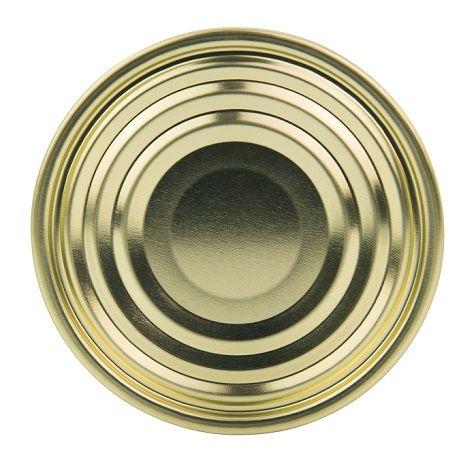 Verschlussdeckel ohne Aufreißlasche und Beschriftung für Weißblechdose mit 99 Millimeter Durchmesser