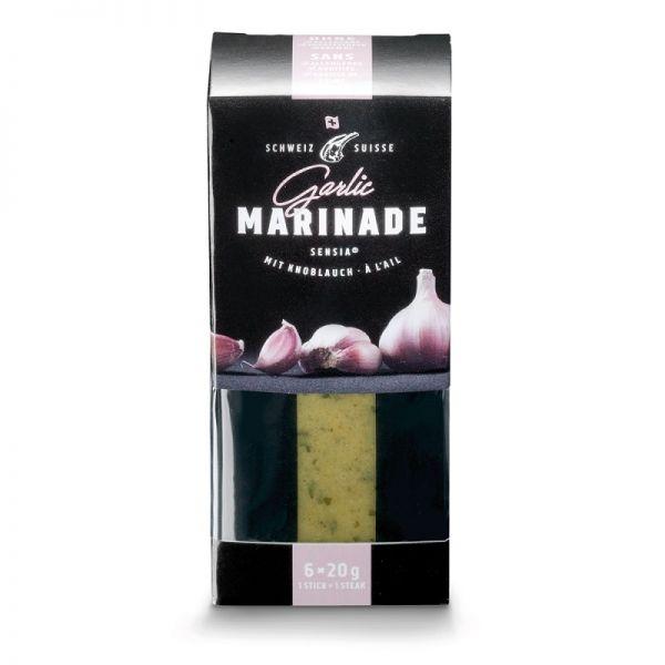 Verpackung mit portionierten Gewürzmarinaden für Grillgut mit Geschmack Garlic durch Knoblauch