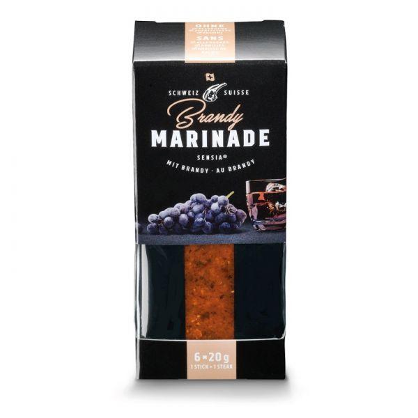 Verpackung mit portionierten Gewürzmarinaden für Grillgut mit Geschmacksrichtung Brandy