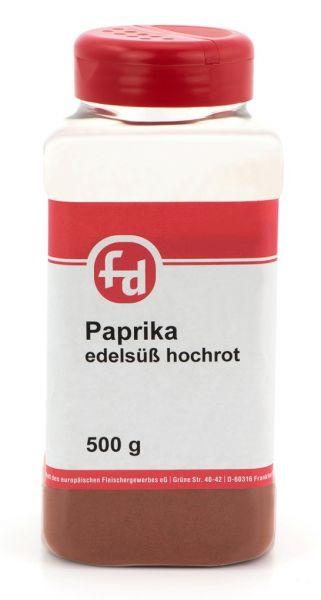 500g hochrotes edelsüßes Paprikapulver in großer Streudose mit zwei Öffnungsoptionen im Deckel