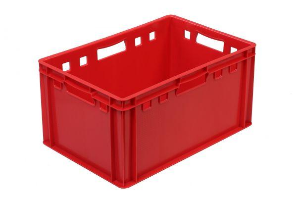 Eine leere rote Eurokiste von INTECH Modell E3. Außenmaße: 600 x 400 x 300 mm
