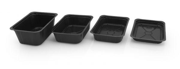 Vier versiegelbare schwarze PP-Schalen in verschiedenen Größen für Lebensmittel