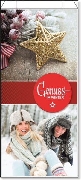 """Buntbedruckter Faltenbeutel mit goldenem Stern, rodelndem Paar und der Aufschrift """"Genuss im Winter"""""""