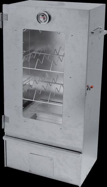 Geschlossener viereckiger Räucherofen aus verzinktem Stahlblech mit Sichtfenster und Thermometer