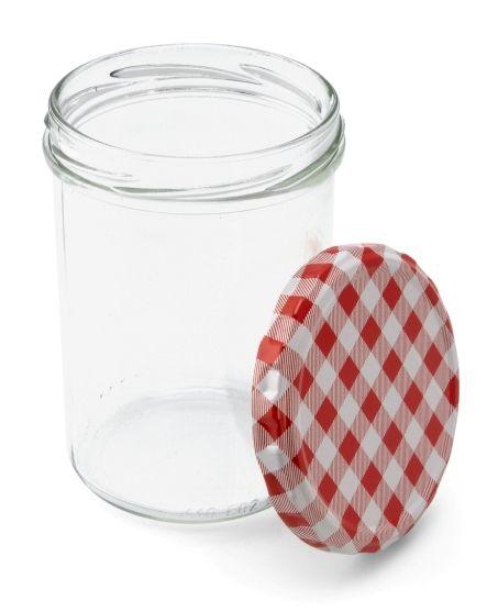 440 ml Sturzglas mit rot-weiß kariertem Deckel
