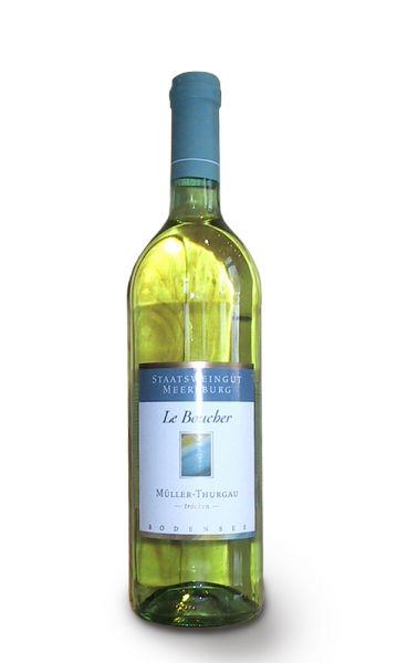 0,75 Liter stilvolle Flasche Weißwein Le Boucher vom Staatsweingut Meersburg der Sorte Mueller-Thurgau