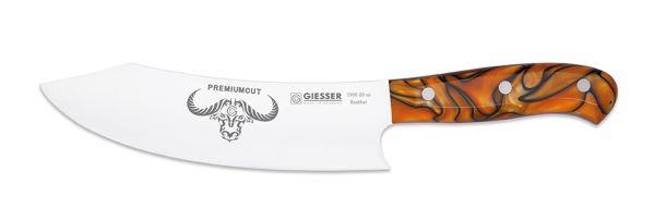 Rostfreies Küchenmesser aus Chrom-Molybdän-Stahl mit 20 cm Klingenlänge und orangenem Strukturgriff