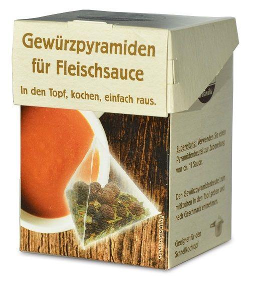 Verpackung mit Gewuerzmischung portioniert in pyramidenartigen Beuteln zum Ansetzen von Fleischsauce