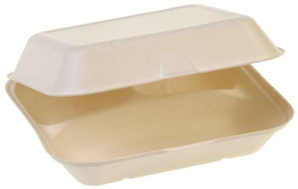 Bio Food Box mit Klappdeckel aus Zuckerrohr, dreiteilig