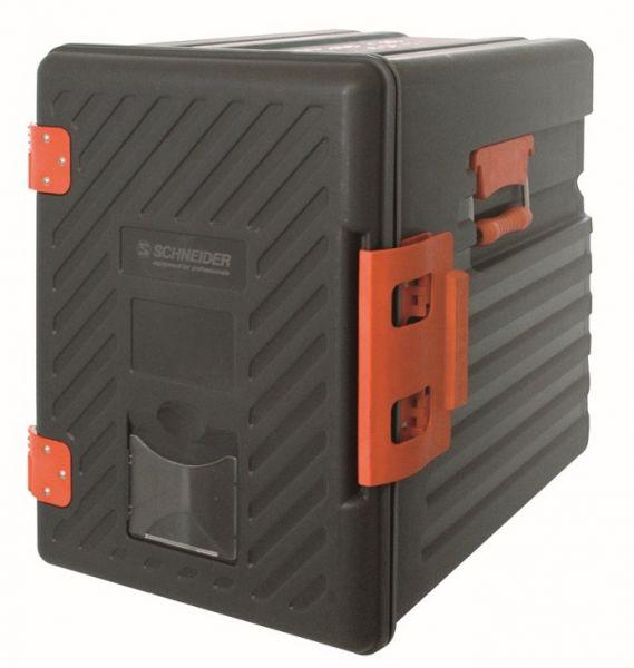 Schwarze Hartkunststoffbox mit rotem Verschluss und Haltegriffen zum Lebensmitteltransport