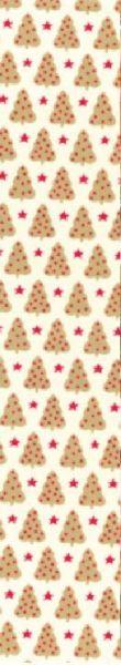 Cremefarbenes Geschenkpapier Muster 1 bedruckt mit Tannenbäumen und Sternen in gold und rot