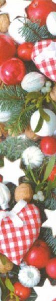Geschenkpapier Muster 2 mit Fotodruck von Herzen, Weihnachtskugeln und Tannenzweigen